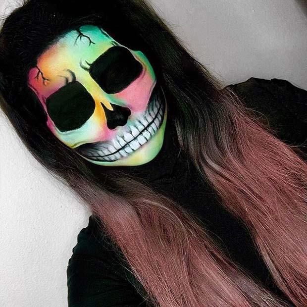 Vibrant Skeleton for Creative DIY Halloween Makeup Ideas