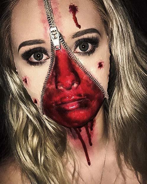 Gruesome Zip Face for Creative DIY Halloween Makeup Ideas