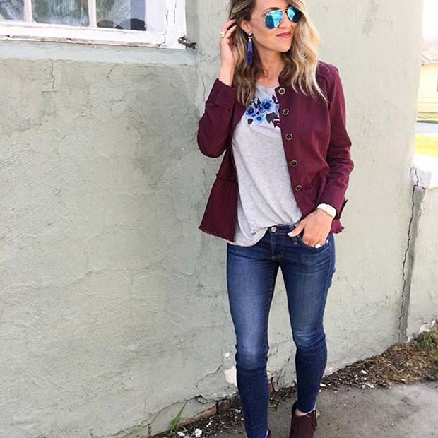 Fall Burgundy Jacket for Cute Fall 2017 Outfit Ideas