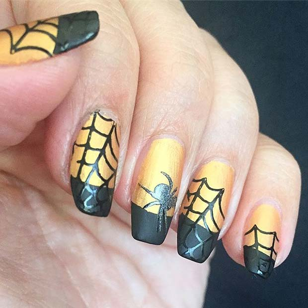 Cute Cobweb Nail Design for Halloween Nail Designs