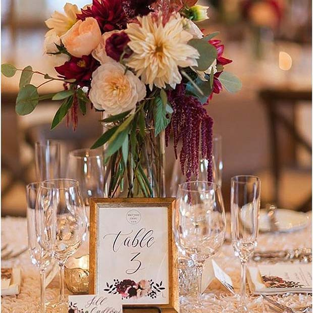Elegant Fall Wedding Reception Table Idea for Fall Wedding Ideas
