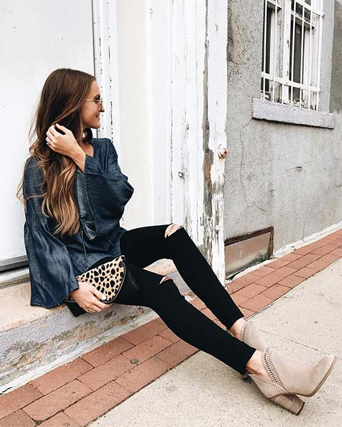 Statement Top and Jeans for Cute Fall 2017 Outfit Ideas