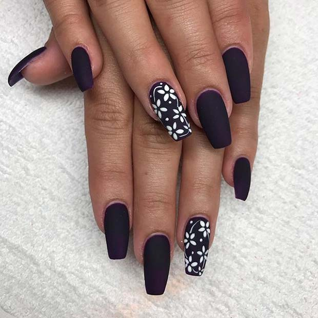 White Floral Nail Art for Matte Nail Designs for Fall
