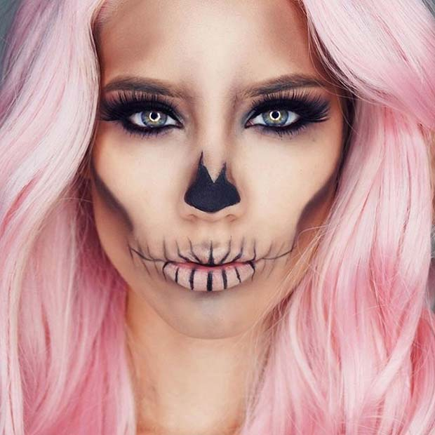 Simple Halloween Skull for Creepy Halloween Makeup Ideas