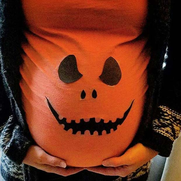 Cute Pumpkin Top for Halloween Costumes for Pregnant Women