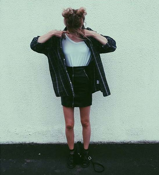 Flannel Shirt and skirt for Flannel Outfit Ideas for Fall