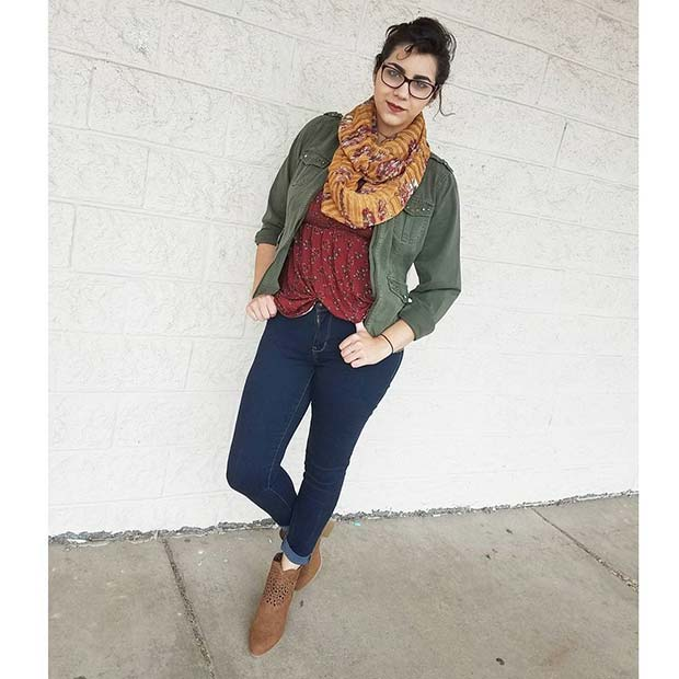 Scarf and Jacket for Cute Fall 2017 Outfit Ideas
