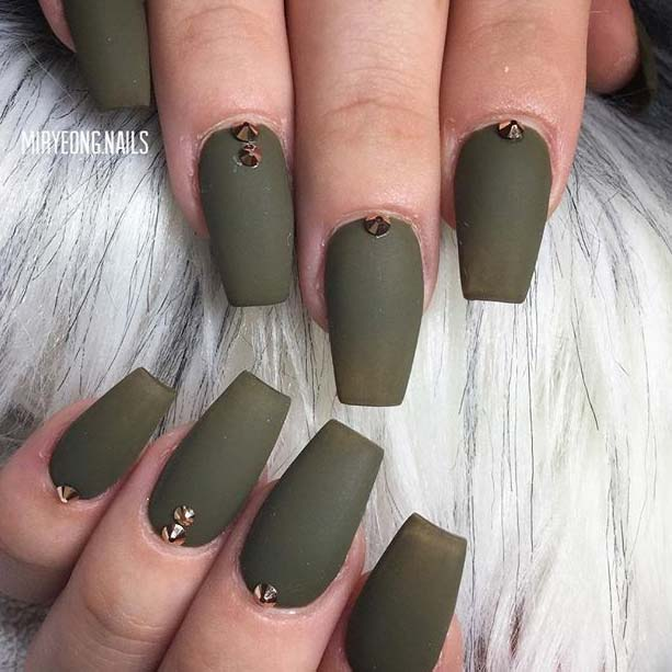 Matte Khaki Green with Embellishments for Matte Nail Designs for Fall - 23 Must Have Matte Nail Designs For Fall StayGlam