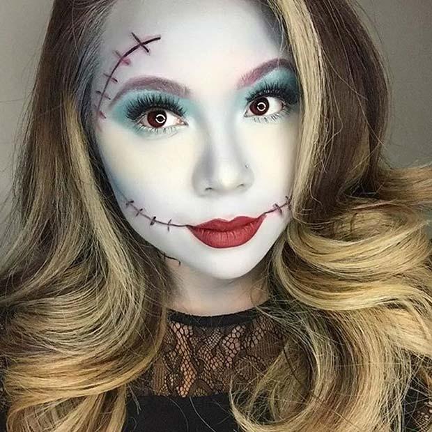 Nightmare Before Christmas Sally for Easy Halloween Makeup Ideas