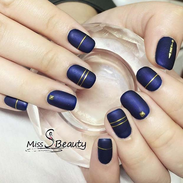 Matte Navy and Gold Nail Art for Matte Nail Designs for Fall