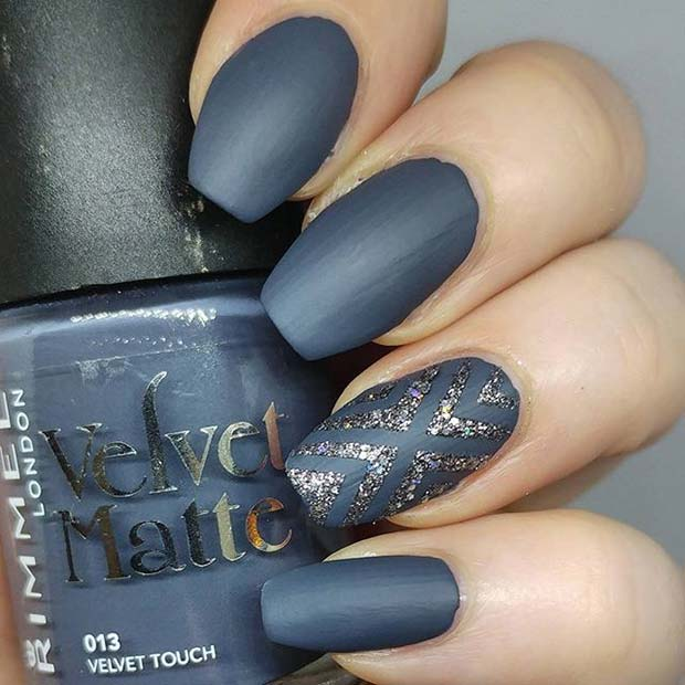Matte and Glitter for Matte Nail Designs for Fall