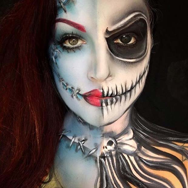 Jack and Sally for Creepy Halloween Makeup Ideas