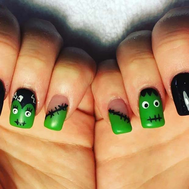 21 creepy and creative halloween nail designs stayglam frankenstein nails for halloween nail designs prinsesfo Gallery