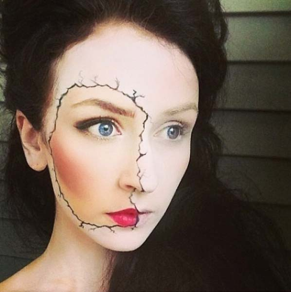Cracked Face Makeup for Easy Halloween Makeup Ideas