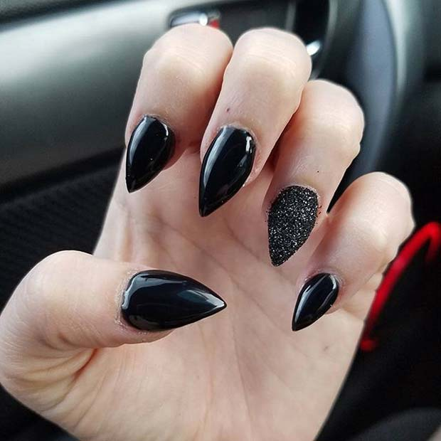 Stylish Black Manicure With Sparkly Accent Nail for Halloween Nail Designs