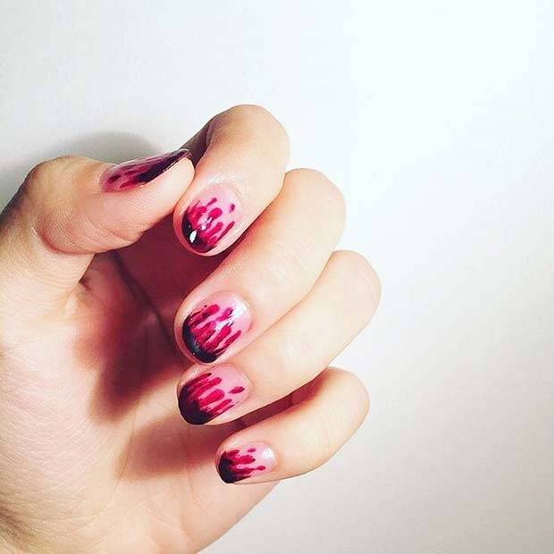 Blood Drip Nails for Halloween Nail Designs