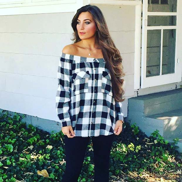 Off the Shoulder for Flannel Outfit Ideas for Fall