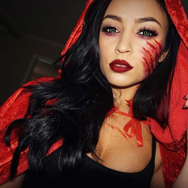 Scary Little Red Riding Hood for Creepy Halloween Makeup Ideas