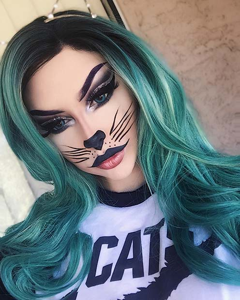 Easy Cat Halloween Makeup Look