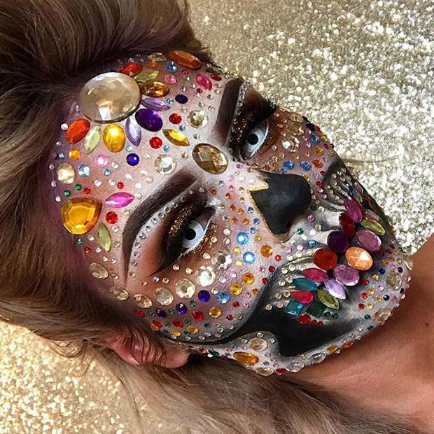 Colorful and Creepy Skull for Creepy Halloween Makeup Ideas