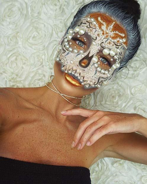 Pearl Skeleton Design for Creative DIY Halloween Makeup Ideas