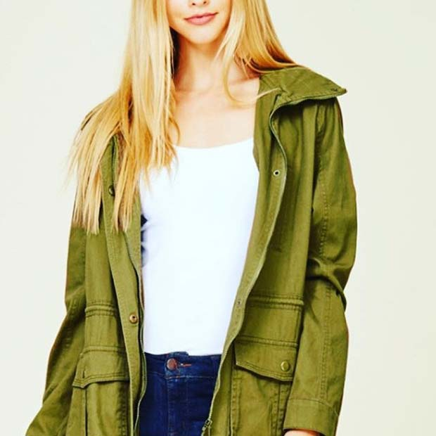 Cute Green Jacket for Cute Fall 2017 Outfit Ideas