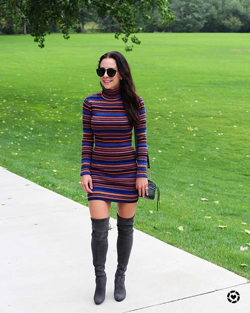 Sweater Dress for Cute Fall 2017 Outfit Ideas