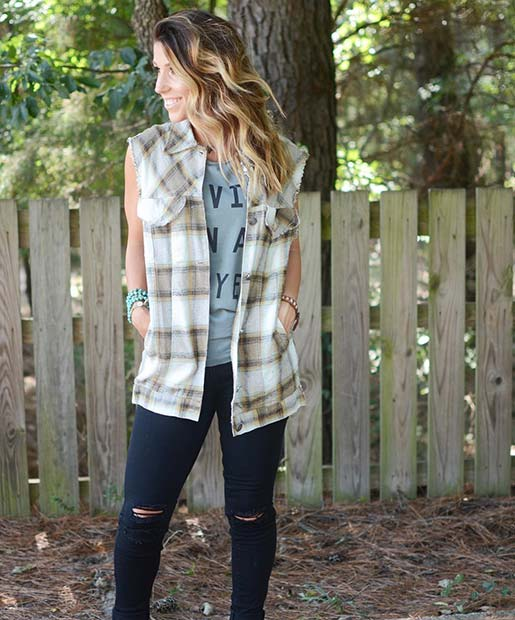 Sleeveless Flannel for Flannel Outfit Ideas for Fall