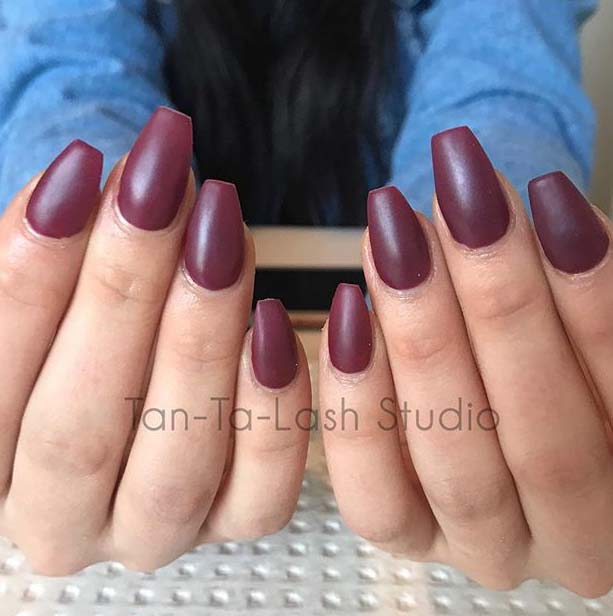 Maroon Coffin Nail Design for Matte Nail Designs for Fall