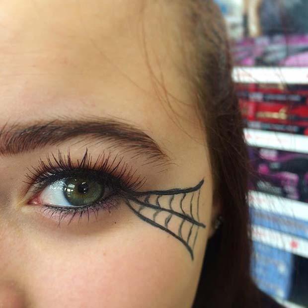 Spider Web Eyeliner for Easy Halloween Makeup Ideas