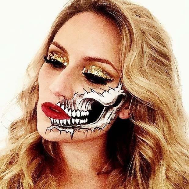 Half Skull Makeup for Creepy Halloween Makeup Ideas