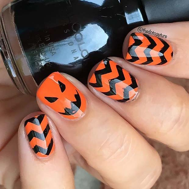 Black and Orange Pumpkin Nails for Halloween Nail Designs