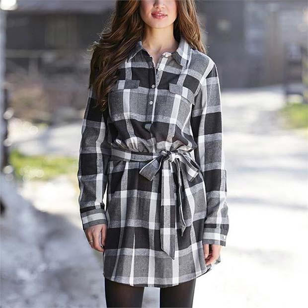 Chic Flannel Dress for Flannel Outfit Ideas for Fall