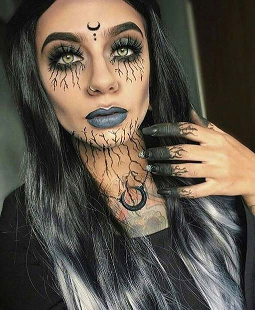 dark witch makeup for creative diy halloween makeup ideas