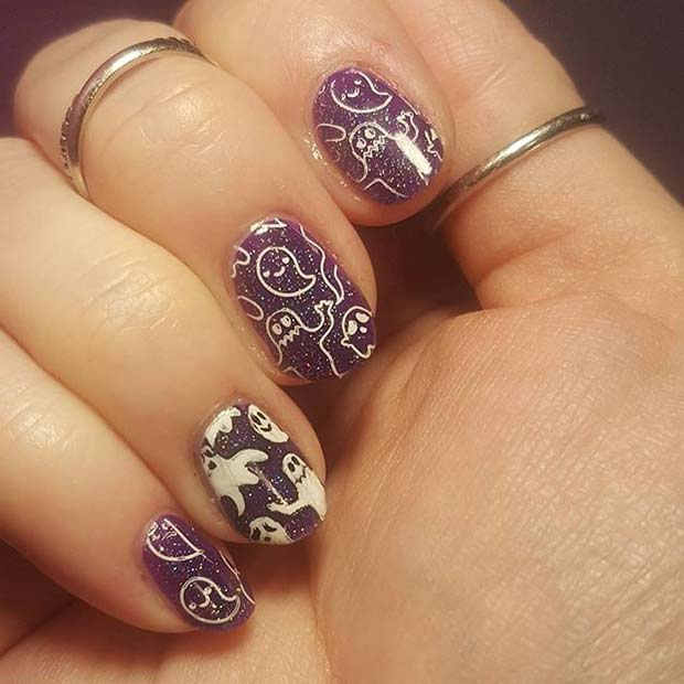 Cute Glitter Ghost Nails for Halloween Nail Designs