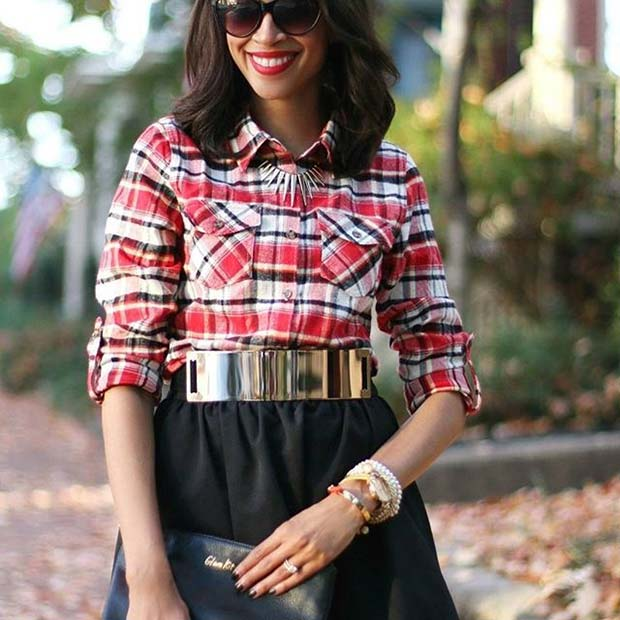 Fall Glamour for Flannel Outfit Ideas for Fall