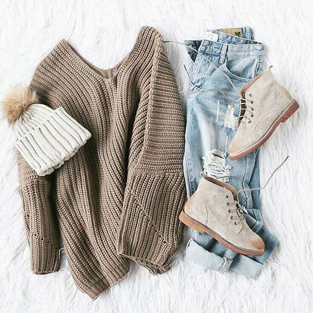 Neutral Sweater and Hat for Cute Fall 2017 Outfit Idea