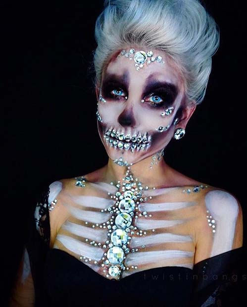 Sparkling Skeleton for Creative DIY Halloween Makeup Ideas