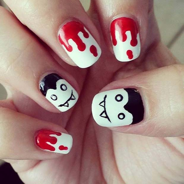 Blood and Vampire Design for Halloween Nail Designs - 21 Creepy And Creative Halloween Nail Designs StayGlam