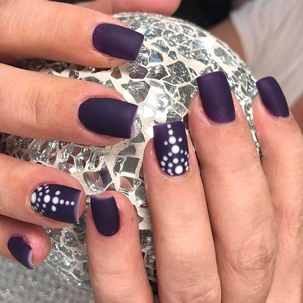 White Dotted Accent Nail for Matte Nail Designs for Fall