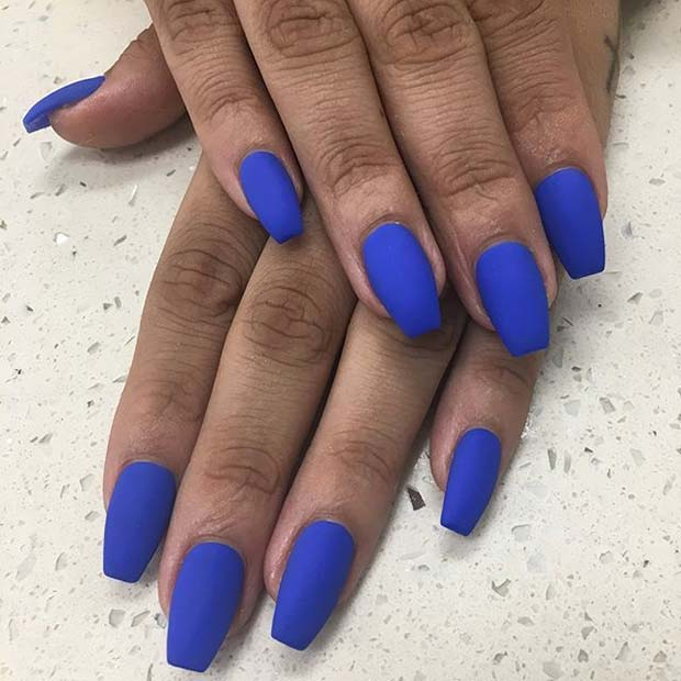 Bold Blue Nails for Matte Nail Designs for Fall