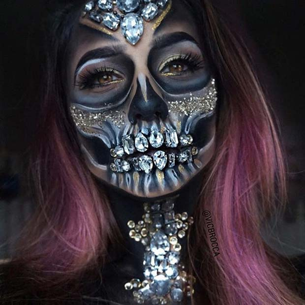 Creepy Crystal Skull for Creepy Halloween Makeup Ideas