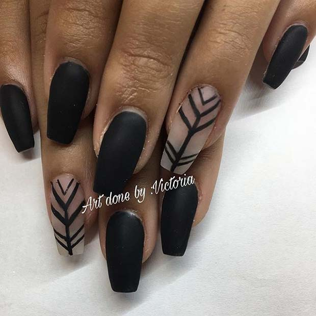 Black Matte Nails with Patterned Accent Nail for Matte Nail Designs for Fall