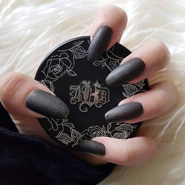 Black Matte Glitter for Matte Nail Designs for Fall