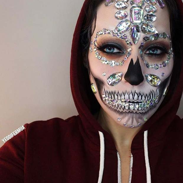 Scary Skull with Sparkle for Creepy Halloween Makeup Ideas