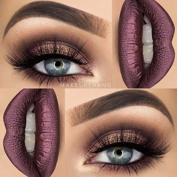 Brown Smokey Eye and Purple Metallic Lips