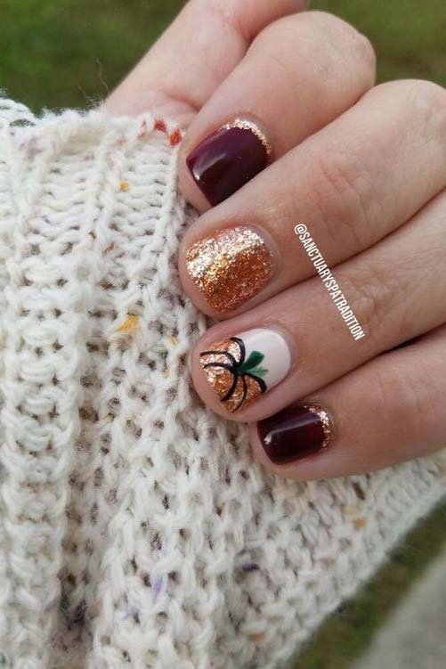Glitter Pumpkin Nails