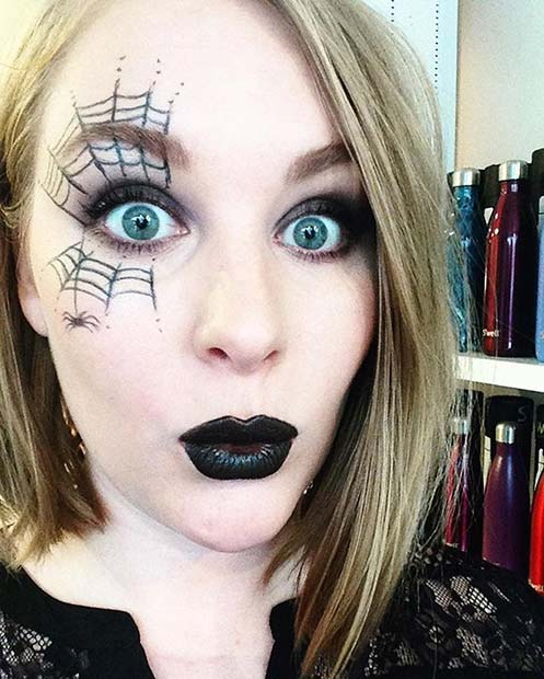Simple Spider Web Makeup for Easy, Last-Minute Halloween Makeup Looks
