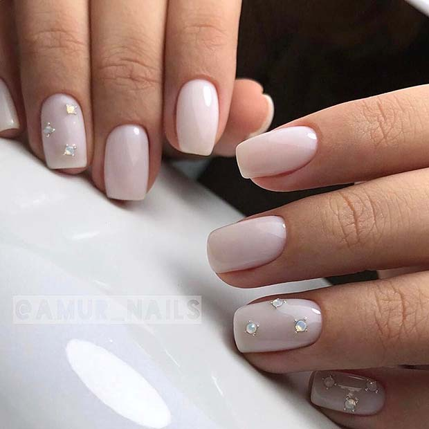Light Nails with Gems for Simple Yet Eye-Catching Nail Designs