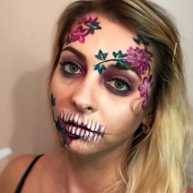 Floral Skeleton Design for Skeleton Makeup Ideas for Halloween